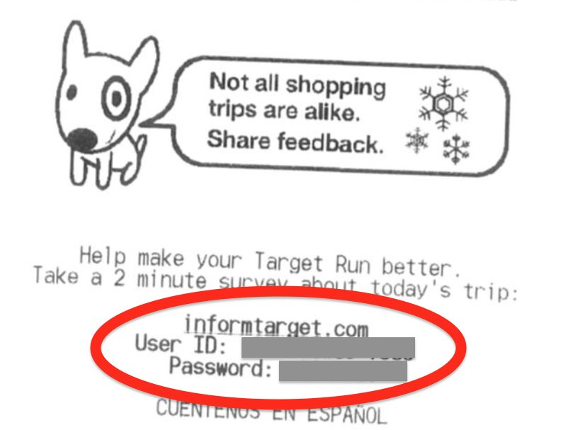 Receipt image, User ID and Password can be found on the bottom half of the receipt just after this survey address, 'survey.medallia.com/target'